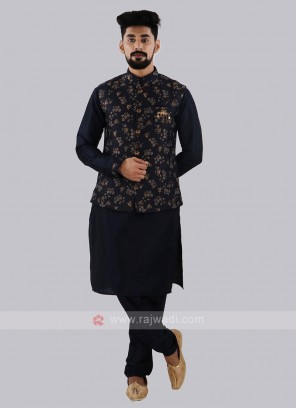 Exclusive Brocade Silk Navy Nehru Jacket