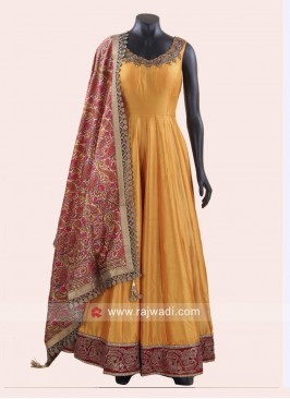 Golden Yellow Anarkali Suit