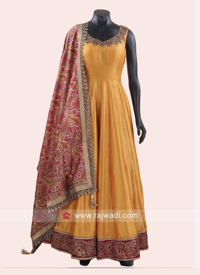 Golden Yellow Anarkali Suit