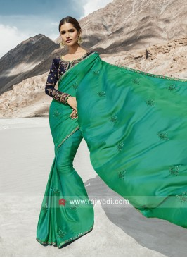 Exclusive Green Saree with Dark Blue Blouse