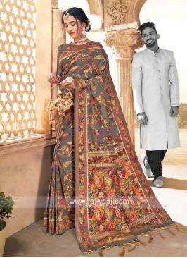 Exclusive Grey Weaving Saree