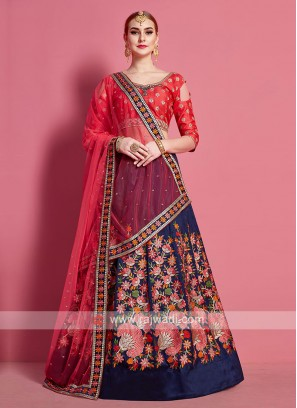 Navy Blue And Pink Lehenga Choli