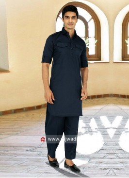 Exclusive Navy Pathani Suit