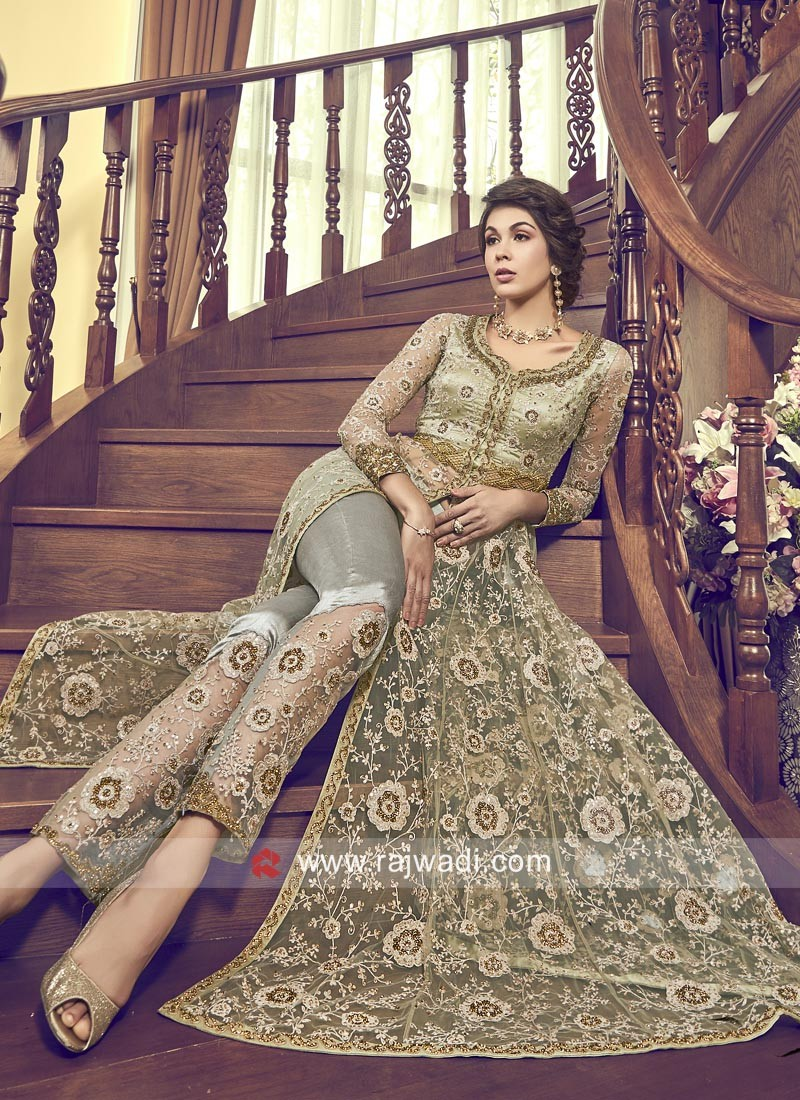 Exclusive Net Eid Salwar Kameez in Pista Green