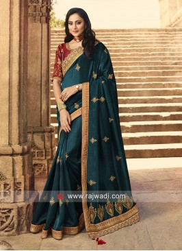 Exclusive Peacock Blue Saree