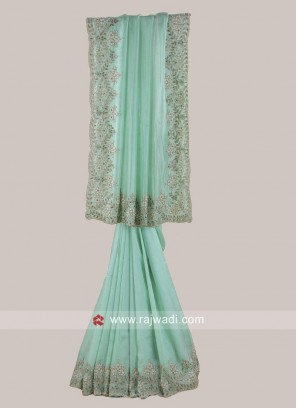 Exclusive Pista Green Satin Silk Saree