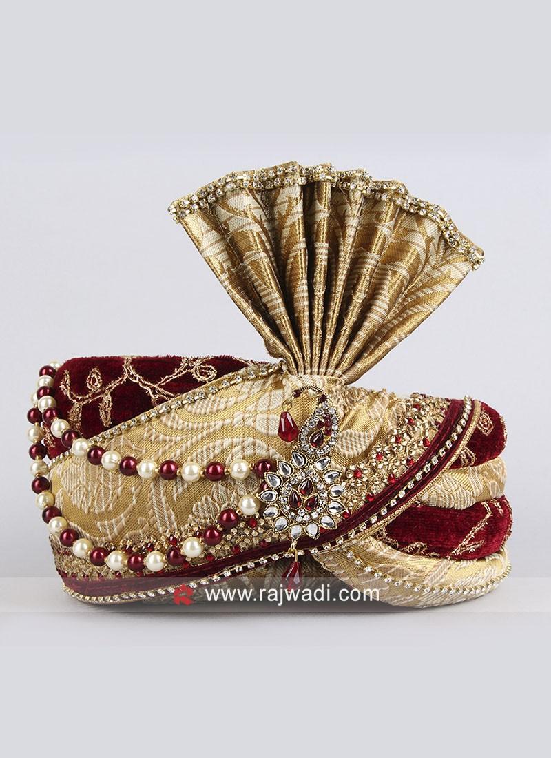 Art Silk and Velvet Fabric Wedding Turban