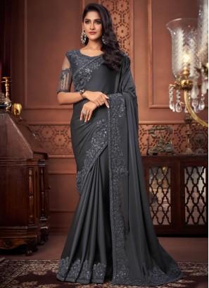 Exotic Grey Patch Border Silk Designer Saree