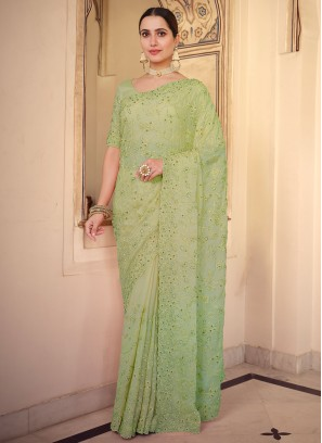 Exotic Resham Green Faux Chiffon Classic Saree