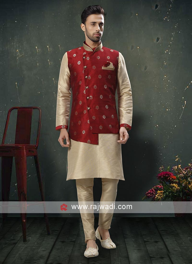 Exquisite Cream and Red Nehru Jacket