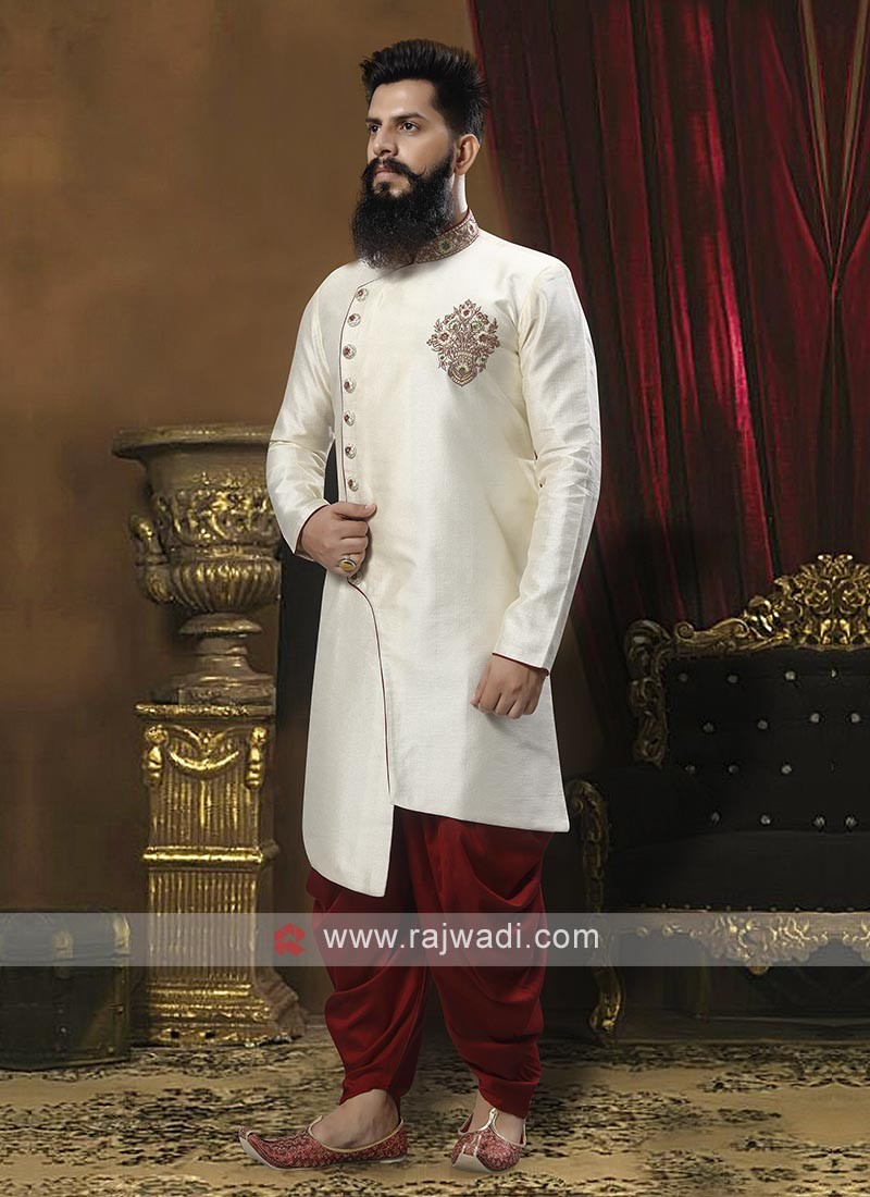 Exquisite White And Maroon Patiala Suit