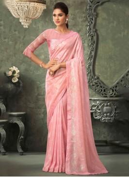 Extraordinary Sequins Pink Georgette Contemporary Saree