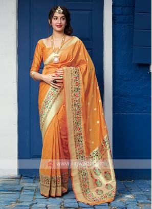Wonderful Orange Color Saree