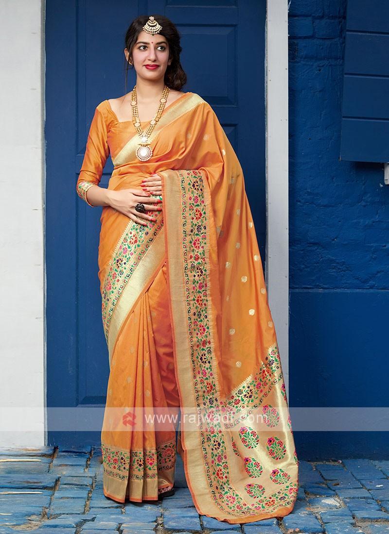 Wonderful Orange Color Saree