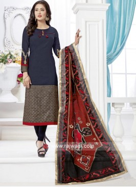 Thread Work Navy Blue Salwar Suit