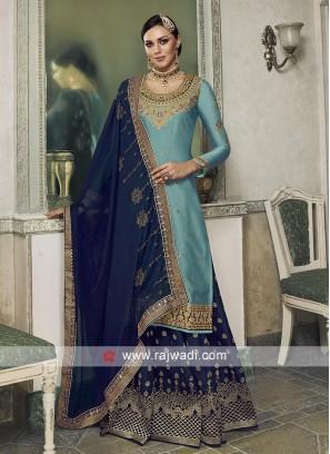 Blue and sky Blue Satin and banarasi Silk salwar kameez.