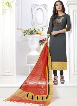 Bottle Green Rayon Silk Salwar Suit