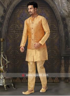 Stylish Golden Yellow Nehru Jacket For Wedding