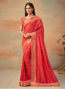 Fabulous Red Designer Traditional Saree