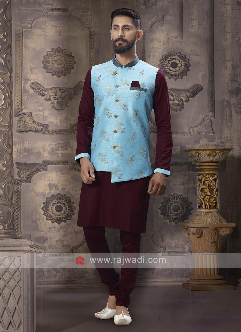 Fabulous Wine And Firozi Nehru Jacket