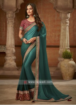 Fancy Dark Teal Silk Saree
