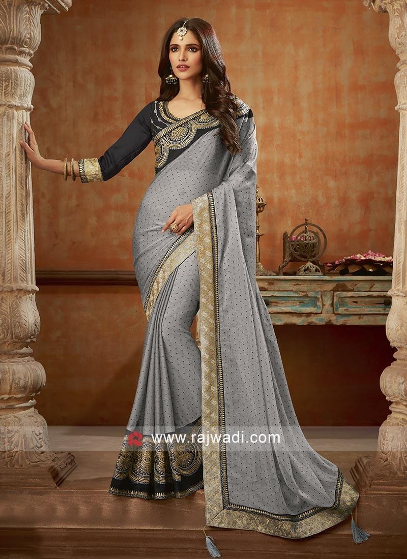 Fancy Grey Chiffon Saree
