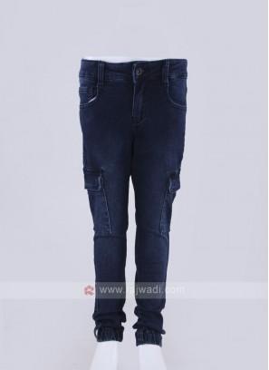 fancy jogger style blue jeans