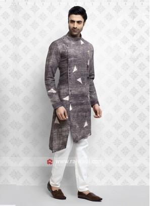Fancy Light Brown Pathani Suit