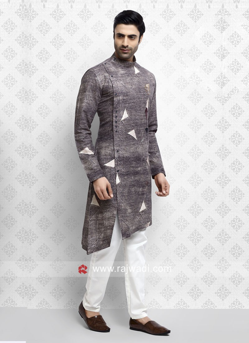 Fancy Light Brown Pathani Suit