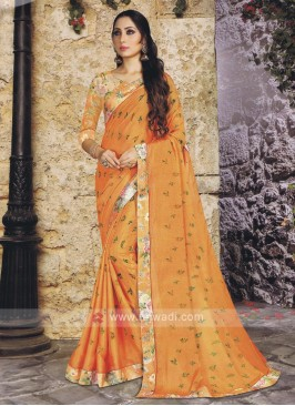 Fancy Printed Orange Saree