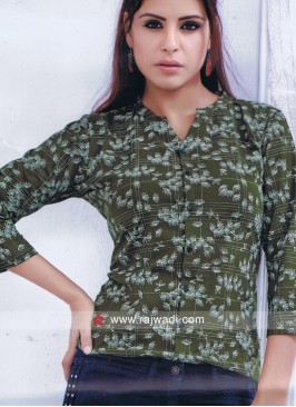 Fancy Printed Top in Olive
