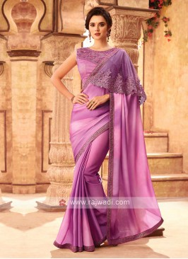 Fancy Purple Chiffion Silk Saree