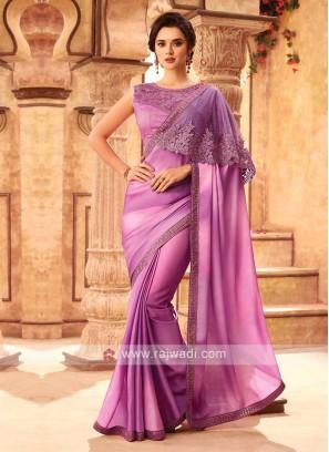 Fancy Purple Chiffion Silk Saree