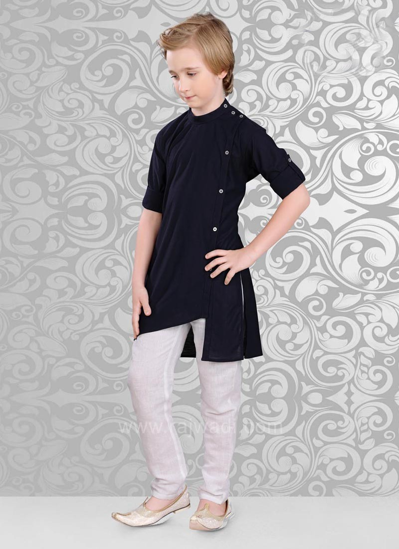Fancy Side Buttons Kurta With Bottom
