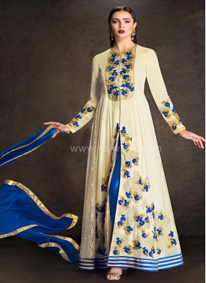 Fantastic Off White Dress Material