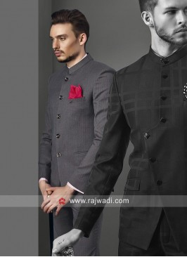 Fashionable Grey Jodhpuri Suit