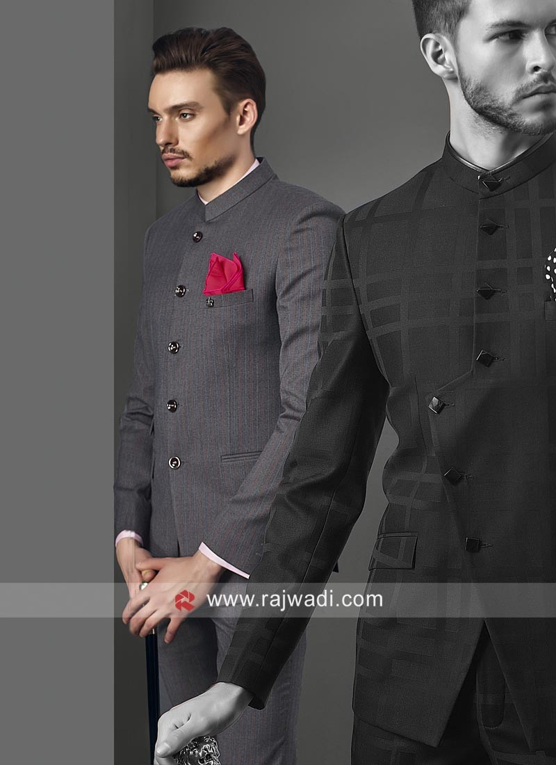 Fashionable Grey Jodhpuri Suit