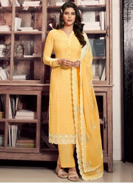 Faux Crepe Designer Straight Suit in Yellow
