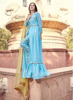 Faux Crepe Fancy Blue Designer Pakistani Salwar Suit