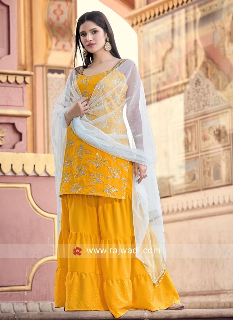 Faux Crepe Mustard Fancy Designer Pakistani Salwar Suit