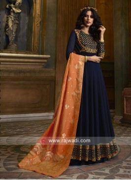 Faux Georgette Anarkali Suit in Navy Blue