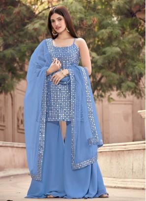 Faux Georgette Fancy Grey Designer Pakistani Suit
