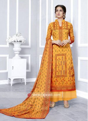 Faux Georgette Palazzo Suit in Yellow