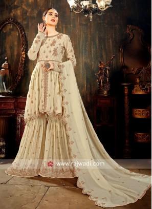 Faux Georgette Wedding Gharara Suit