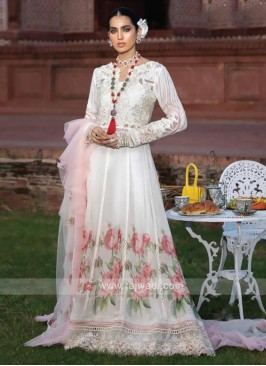 Faux Georgette White Dress Material