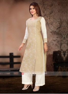 Fawn & Off White Color Kurta Set