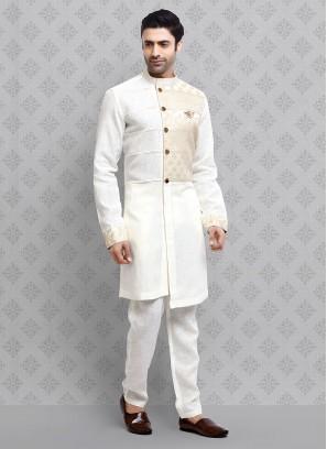 Marriage Kurta Pajama In Off-White Color