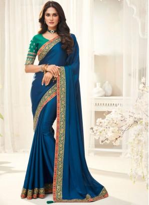 Festal Turquoise Border Silk Trendy Saree