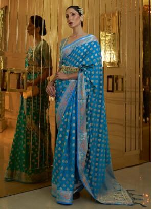 Festal Weaving Silk Aqua Blue Contemporary Saree