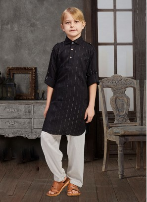 Festive Wear Black Boys Pathani Suit